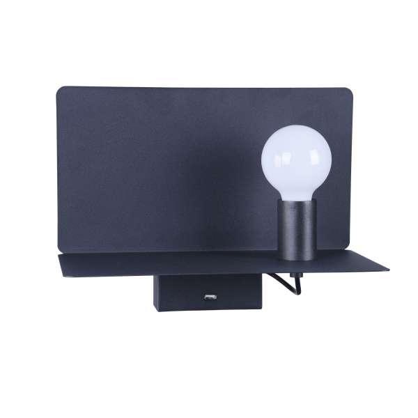 Moderne Wandleuchte mit USB-Port: RACK I WL black